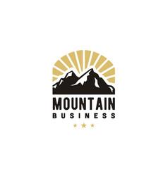 Sunshine sun rays mountain ice snow peak logo vector