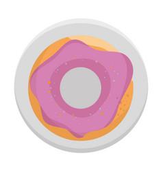Sweet donut in dish vector
