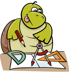 turtle with calipers cartoon vector image