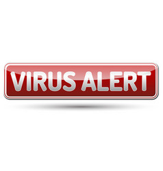 virus alert sign - glossy banner with shadow vector image