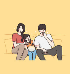 watching movies spending time with family concept vector image