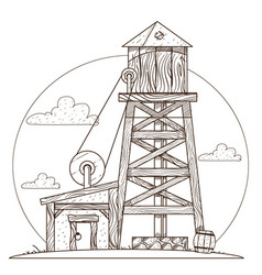 Water tower vintage structures vector