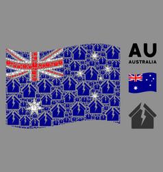 waving australia flag mosaic housing crisis vector image