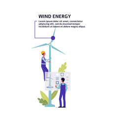 wind energy turbines - renewable power source flat vector image