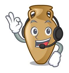 with headphone amphora mascot cartoon style vector image