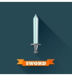 With sword in flat design with long shadow and red vector