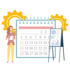 woman making notes calendar planning image vector image