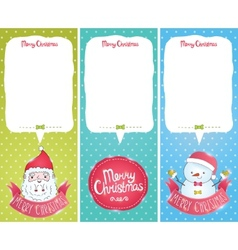 Christmas cards with Santa Claus snowman vector image vector image