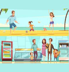 family horizontal cartoon banners vector image