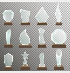 set of glass transparent trophy awards vector image vector image