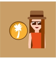 vacation woman palm coconut summer vector image vector image