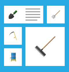 Flat icon garden set of cutter hay fork vector