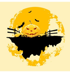 Grungy Halloween background with pumpkins and bats vector image