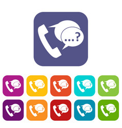 phone sign and support speech bubbles icons set vector image vector image