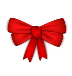 Realistic red ribbon bow vector image