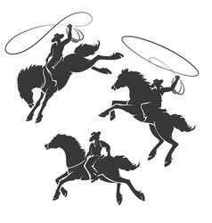 rodeo cowboy emblem set vector image
