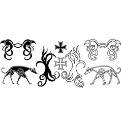 elements in viking style vector image vector image