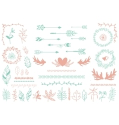 Ethnic tribal boho elements Arrows and feathers vector image