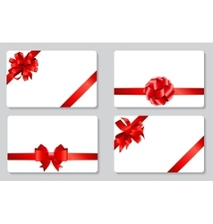 Gift Card with Red Bow and Ribbon Set vector image vector image
