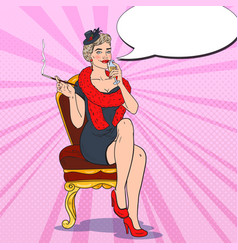 pop art smoking woman with glass of champagne vector image vector image