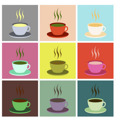 set icons in flat design cup of coffee vector image vector image