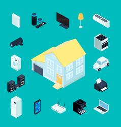 Smart home isometric decorative icons vector