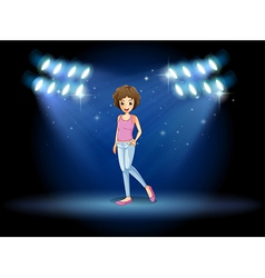 A girl performing in the middle of the stage vector image vector image