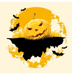 Grungy Halloween background with pumpkins and bats vector image vector image