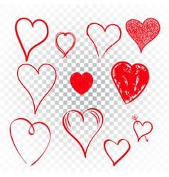 hearts icon set love hand drawn on isolated vector image vector image