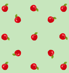Red realistic apples on green vintage background vector