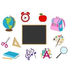 School cartoon objects vector image vector image