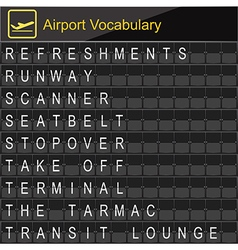 Airport vocabulary on boarding vector