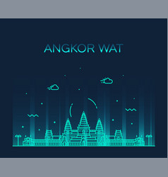angkor wat skyline cambodia linear style vector image
