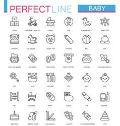 Baby care toys kid feeding thin line web icons vector