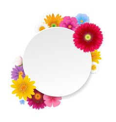 Banner with summer flowers white background vector
