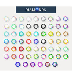 Big set 60 realistic colorful crystals light vector image