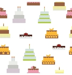 Birthday cake flat icon seamless pattern vector