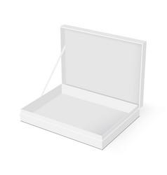 blank rectangular box with opened lid mockup vector image