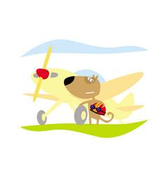 brave aviator near his plane vector image