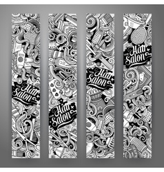 Cartoon doodles Hair salon banners vector