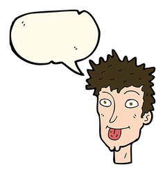 cartoon man sticking out tongue with speech bubble vector image