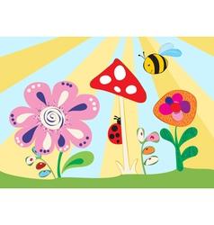Cheerful children meadow vector