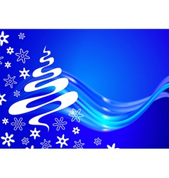 Christmas card with tree and snowflakes sketch vector image