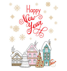 christmas congratulation card with colorful houses vector image