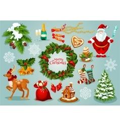 Christmas Day holidays celebration icon set vector image