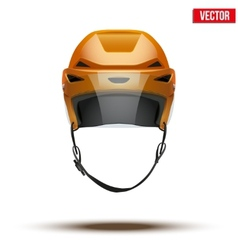Classic orange Ice Hockey Helmet with glass visor vector