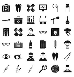 Clever doctor icons set simple style vector