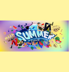 Colorful summer banner tropical background vector