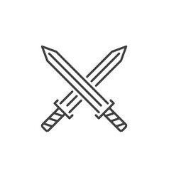 crossed swords concept icon in linear style vector image