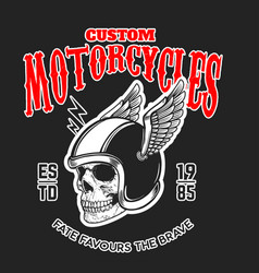 custom motorcycles poster template with skull in vector image